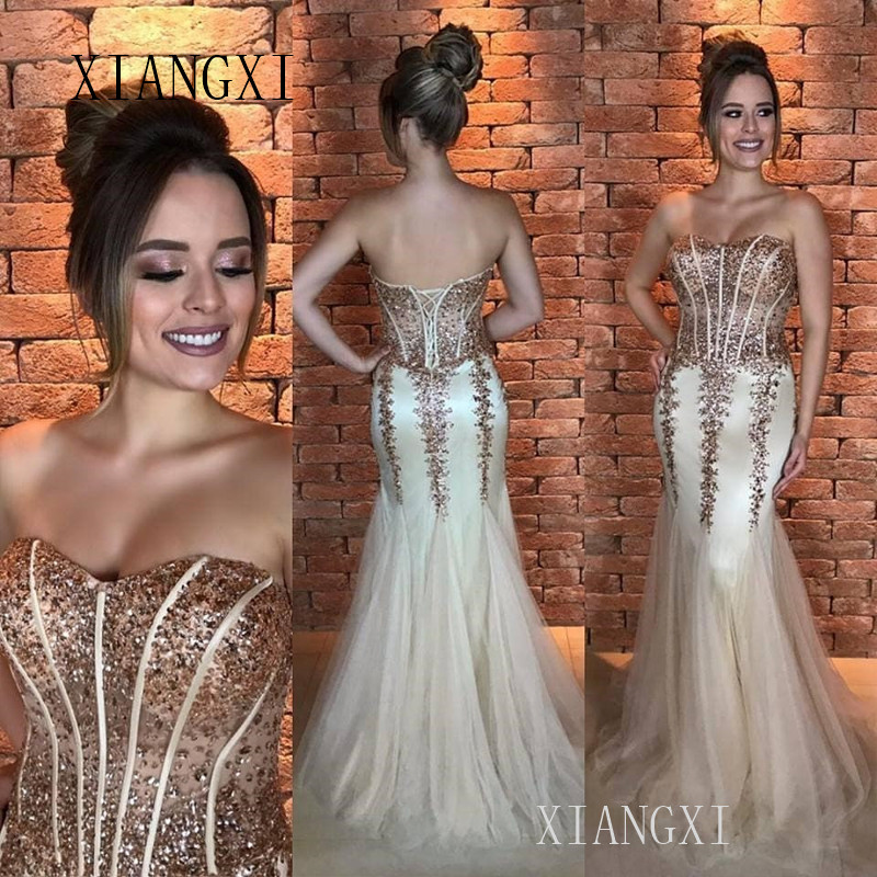 Gold Mermaid Evening Dresses Sequin Lace Appliques Tulle Long Evening Dress Formal Gowns Party Gowns robe de soiree