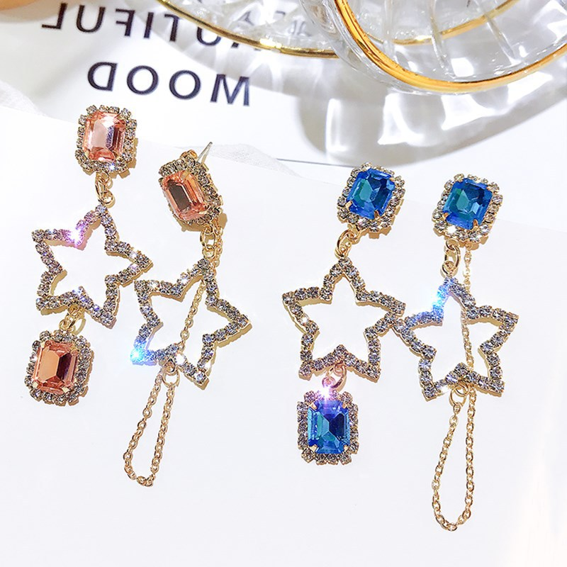 Elegant Temperament Geometric Asymmetry Hollow Pentagram Star Crystal Rhinestone Drop Earrings Women Wedding Bride Party Jewelry