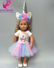 doll clothes for 43cm Baby unicorn dress head band 18 inch set