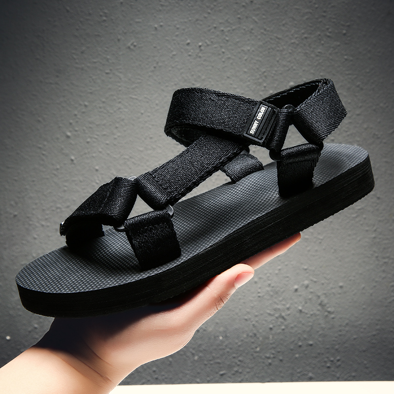 Sandals Men Shoes 2019 Mens Beach Slippers Solid Hook Hollow Out Casual Breathable Flats Sandals Shoes Flat Beach Sandals