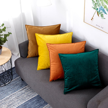 Velvet Cushion Pillows Sofa Square Stuffed America-Style Cotton Europe Solid for And