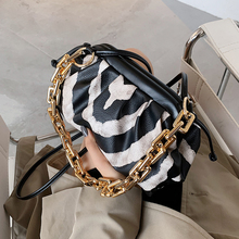 Zebra Pattern Thick Chain PU Leather Crossbody Bags For Women 2021 Trend Shoulder Bag Women's Trending Branded Handbags Clutch