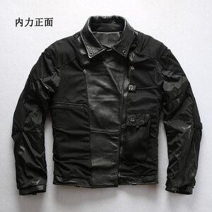 Image 4 - 98010 לקרוא תיאור! אסיה גודל אמיתי פרה עור עור מעיל mens עור פרה מזדמן בציר biker עור מעיל