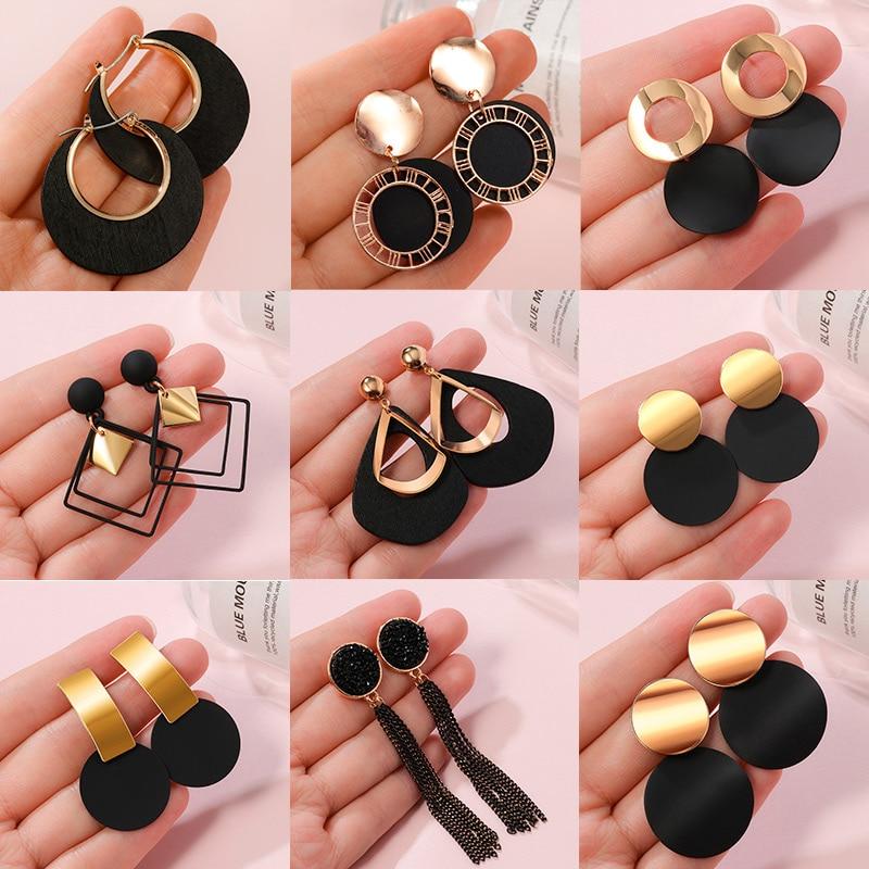 POXAM nouveau coréen déclaration boucles d'oreilles pour les femmes noir mignon acrylique géométrique balancent goutte or boucles d'oreilles Brincos 2020 bijoux de mode