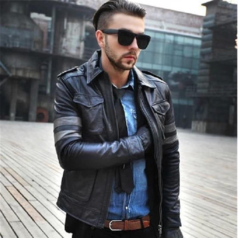 Jackets Leather Genuine Men Oblique Motorcycle Jacket Mens Black Pilot Leather Jacket Jaquetas De Couro Masculino WXF023 S