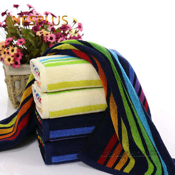 Rainbow Stripes Face Towel 100% Cotton Absorbent Hand Towels Sport Washcloth Terry Travel Beach Bath Towel For Adults Bathroom