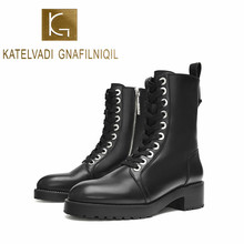 KATELVADI New Brand Winter Short Motorcycle Boots With Square High Heels Boots Shoes Martin Boots Women Ankle Boots K-594 2016 new boots for women s shoes in europe and the former with a short tube of fine with high heels pointed martin boots