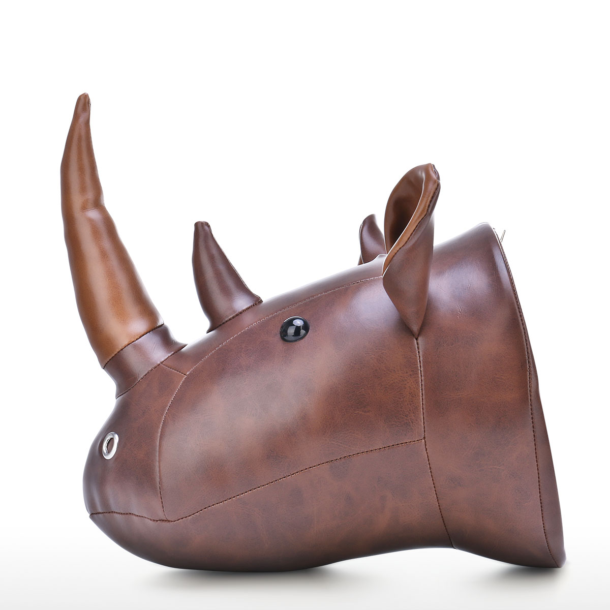 Rhino Hoofd Muur Opknoping Cartoon Dier Hoofd Muur Decor Kamer Decoratie Microfiber Leer Materiaal Kinderlijke Ornament - 3