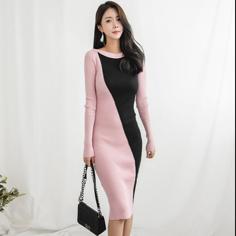 Autumn Women Knitting Sheath Dress 2019 Fashion Long Sleeve Pink Black Contrast Color Bodycon Knitted Pencil Sweater Dress