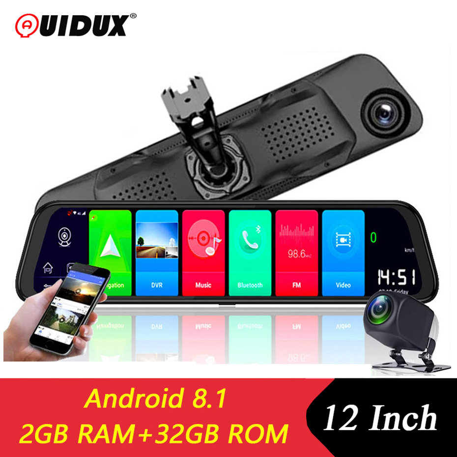 QUIDUX 12 Inch Android 8.1 <font><b>Car</b></font> DVRs Camera GPS Navi Bluetooth FHD 1080P Mirror Recorder <font><b>Compatible</b></font> with 4G Wifi ADAS Dash cam image