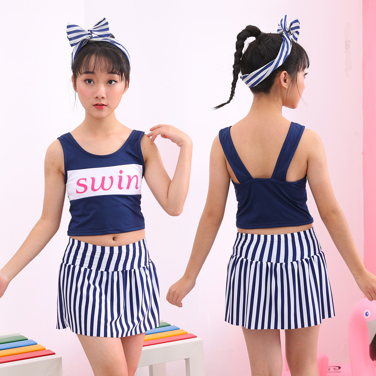 2019 New Style KID'S Swimwear Cute Hot Springs Big Kid GIRL'S Split Skirt-Students GIRL'S Swimsuit Manufacturers Wholesale
