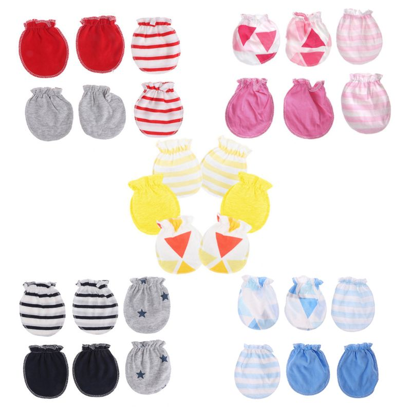 3 Pairs Fashion 1-24 Month Kids Anti Scratching Gloves Newborn Protection Face Cotton Scratch Mittens