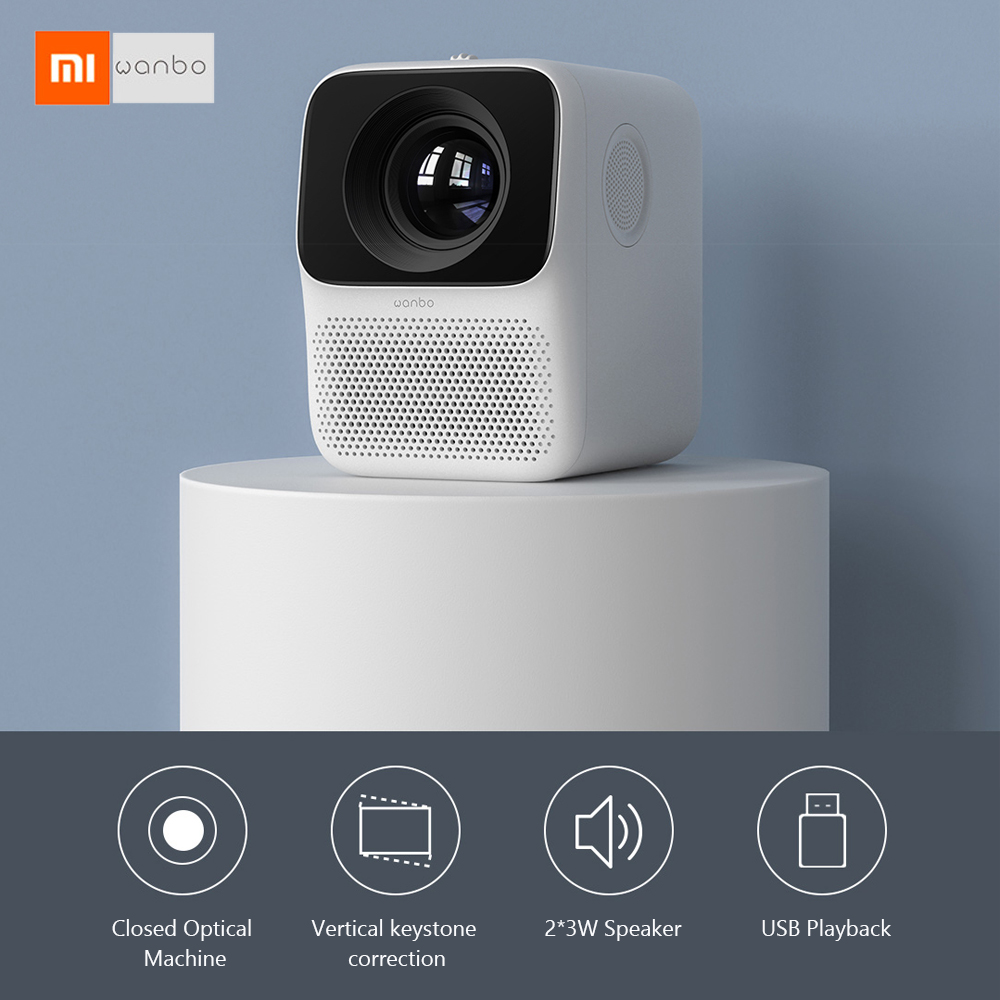 Xiaomi Wanbo LCD мини-проектор T2 Free LED 150ANSI Вертикальная коррекция Keystone поддержка 1080P Мультимедиа ТВ домашний кинотеатр белый