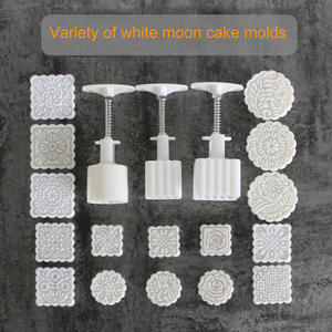Hand-Pressure-Maker Mould Cookies-Cutter Flower-Stamps Plastic Mooncake with JS22 Square/round