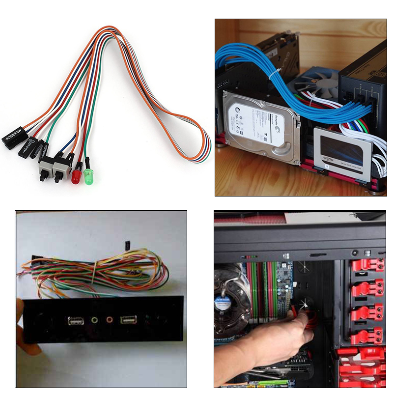 New PC Case Red Green LED Lamp ATX Power Supply Reset HDD Switch Lead 20\