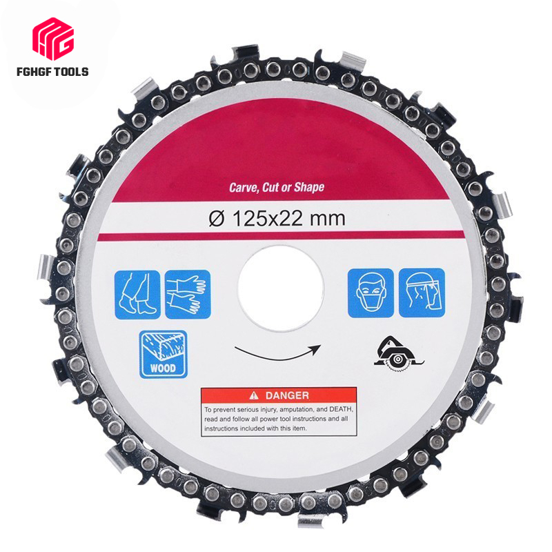 FGHGF 5 Inch 22mm Diameter 14 Tooth Chainsaw Disc For Angle Grinders Circular Saw Blade Wood Cutting Steel Carving Cut Shape