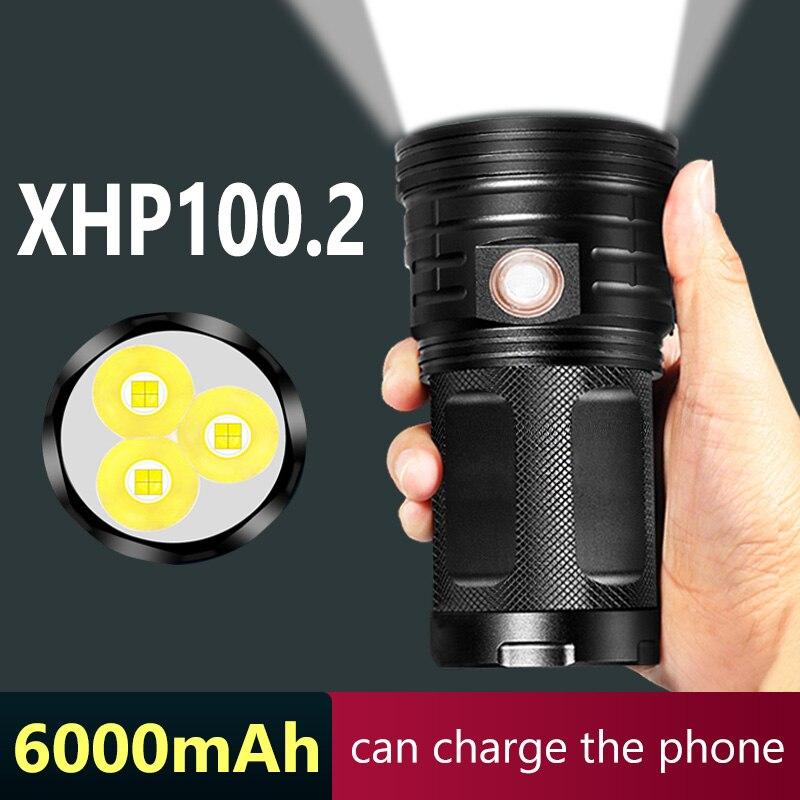 Супер-яркий светодиодный фонарик XHP100.2 с зарядкой от USB, 2021 мАч, с входом и выходом, водонепроницаемый уличный фонарик для кемпинга и скалолаз...