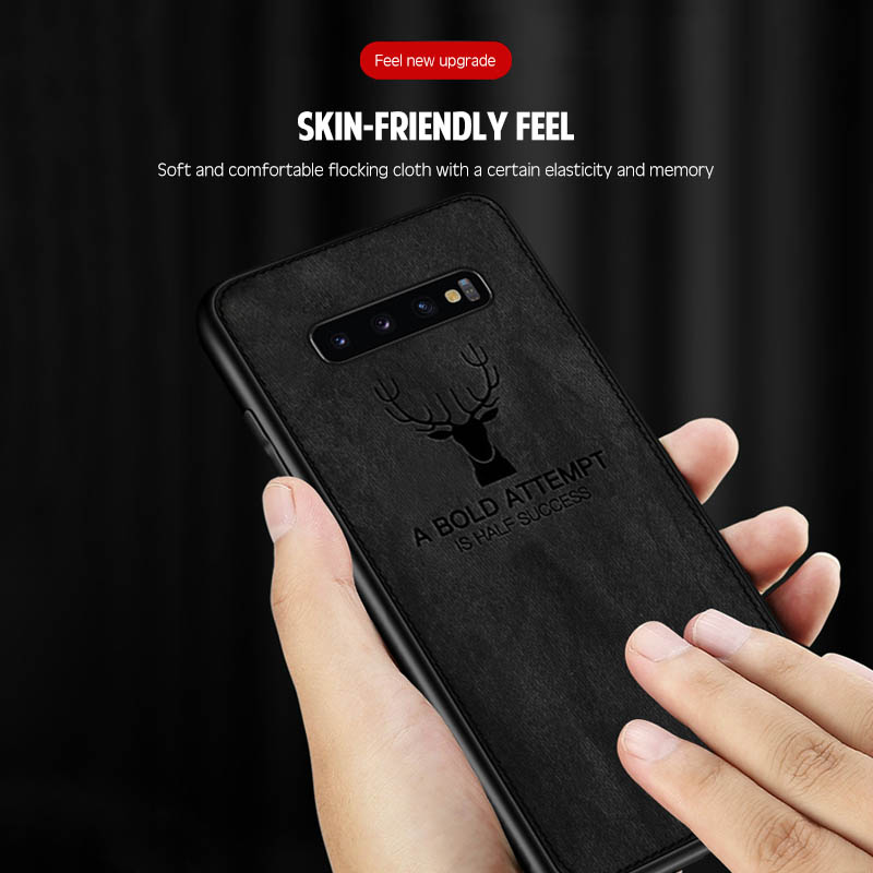 Luxury Ultra Thin Christmas Deer Cloth Cases For Samsung S10 e S9 S8 S7 Plus Note 10 9 8 Pro Shockproof Soft Silicone Case Cover in Fitted Cases from Cellphones Telecommunications
