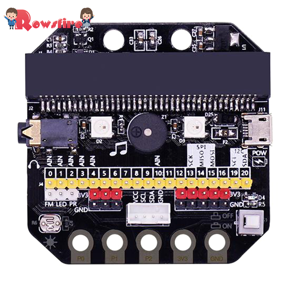 High Quality 1 Set Basic:Bit IO Expansion Board Horizontal Type Pinboard Microbit Python Development Board For Micro:Bit