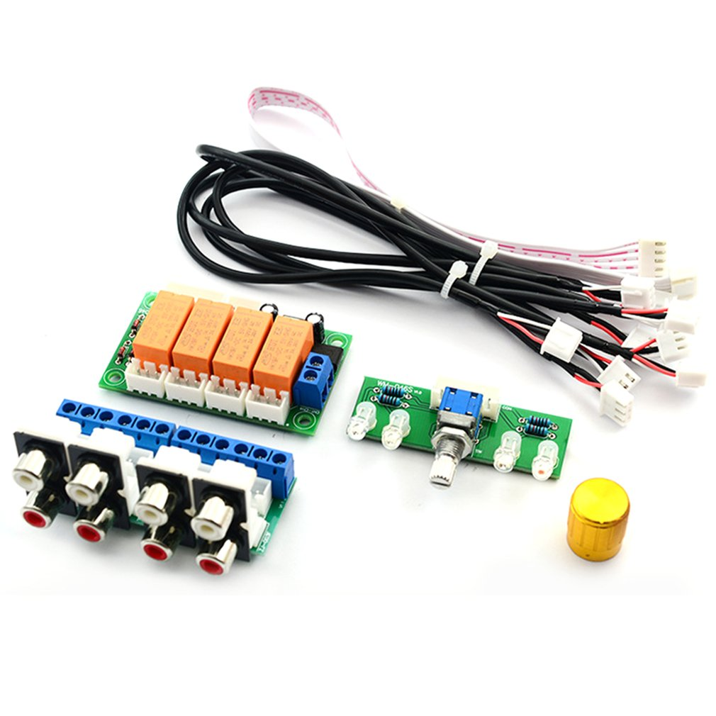 Relay 4-way Audio Input Signal Selector Switching  RCA Audio Input Selection Board Of Rotary Switching For Amplifiers
