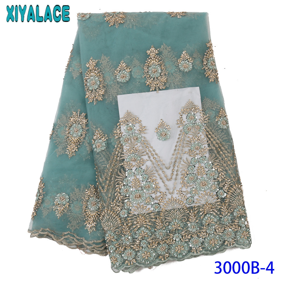 Latest Beaded Lace Fabric Tulle Lace Fabric French Laces Fabrics High Quality Tulle French For Party Dresses KS3000B