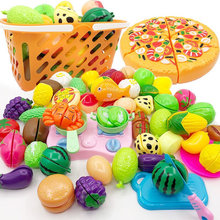 New 36PCS Children Play House Toy Cut Fruit Plastic Vegetables Kitchen Baby Classic Kids Toys Pretend Playset Educational Toys
