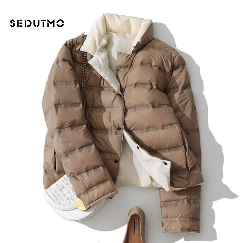 SEDUTMO Winter Ultra Light Duck Down Coat Women Double Sided Short Jackets Slim Autumn Puffer Jacket Pocket Casual Parkas ED920