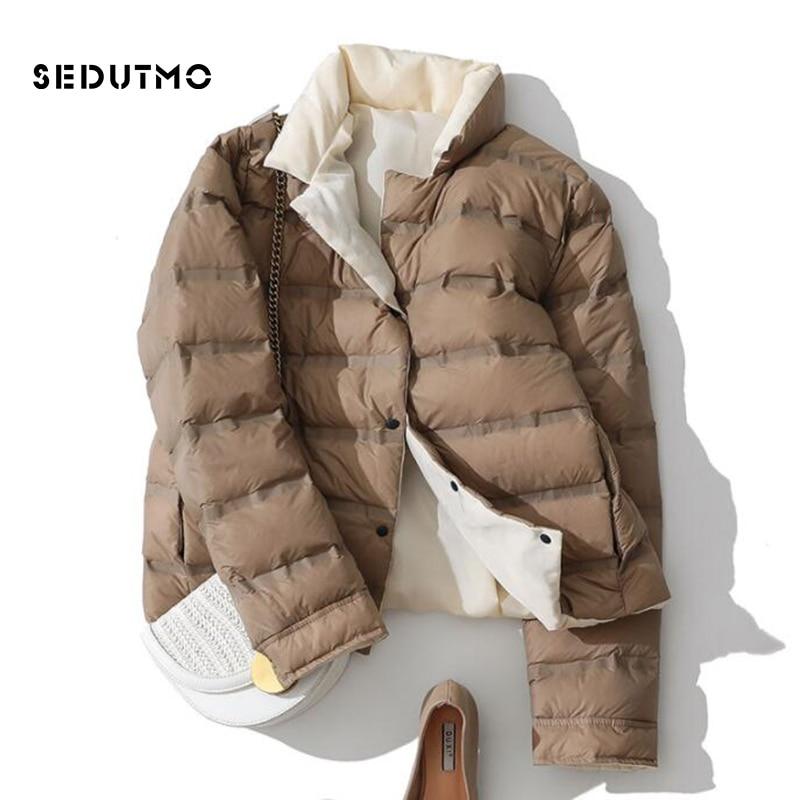 SEDUTMO Winter Ultra Light Duck Down Coat Women Double Sided Short Jackets Slim Autumn Puffer Jacket Pocket Casual Parkas ED920
