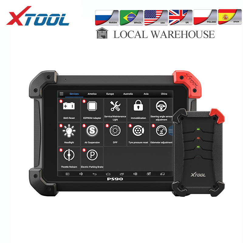 XTOOL PS90 Auto OBD2 Key Programmer And Odometer Adjustment Full System Car Diagnostic Tool EPB ABS DPF With KC100 Update Online