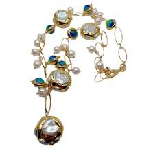 Y·YING Freshwater Cultured White Keshi Pearl Blue Murano Glass Necklace 21