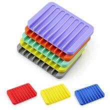 50pcs Silicone Soap Holder Dishes Non Slip Soap Box Toilet Shower Tray Draining Rack Bathroom Gadgets Kitchen Sink Sponge Holder