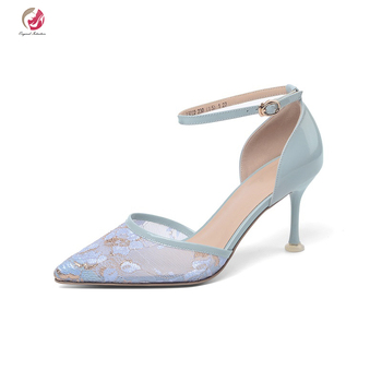 Original Intention Sweety Blue Pink Sandals Woman Pointed Toe Stiletto Heels Grace Lady Spring Shoes Date Dress High Quality