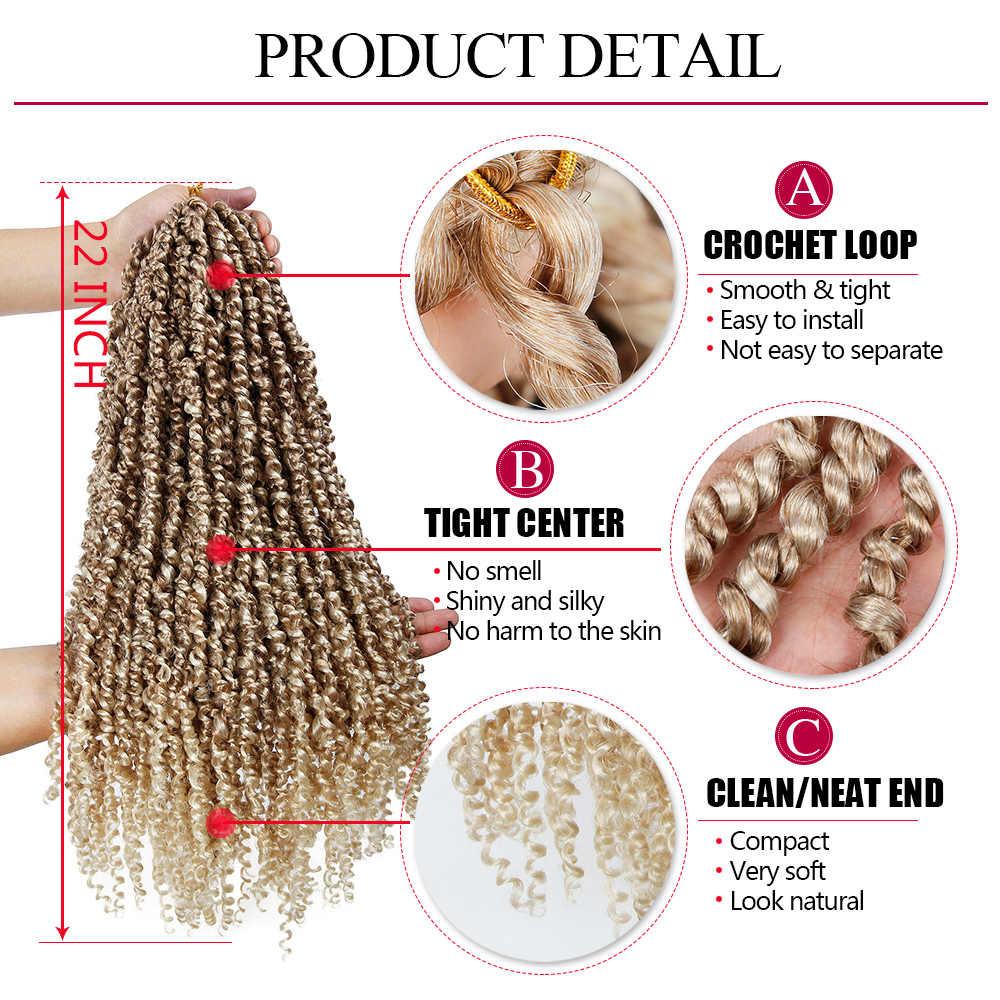 22 cale wstępnie zapętlony puszysty warkocz Ombre włosy syntetyczne do warkoczy 15 nici Pre Twisted pasja Twist szydełkowe włosy