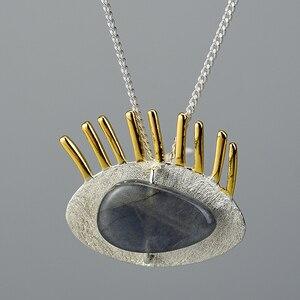 Image 3 - Lotus Fun, pendentif, sans chaîne, en argent Sterling 925, véritable Labradorite naturel, bijoux fins intéressant, cils en or pour femmes