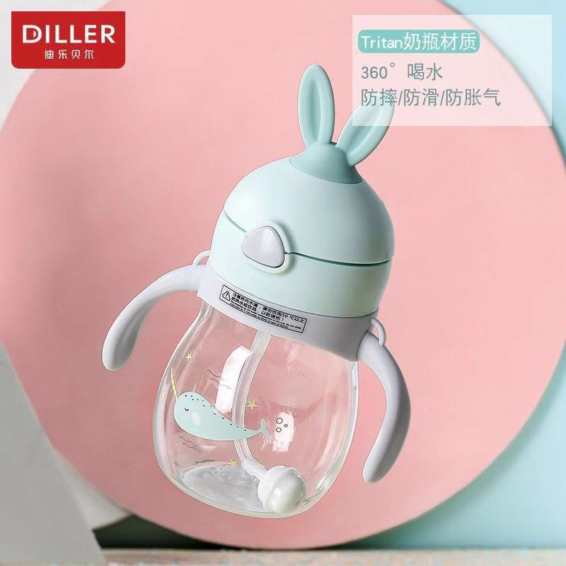 Children Cup With Straw With Handle Gravity Ball Leak-Proof Baby Drinking Cup Shatter-resistant Kindergarten Sippy Cup Cute Port