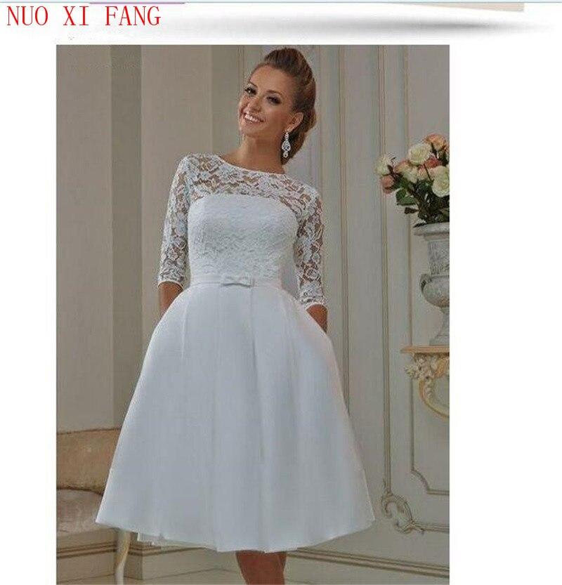 Custom Made Vestidos De Noiva Vintage Style Half Sleeve Lace Tea Length Sexy Cheap Short Wedding Dresses 2020 Bridal Gowns