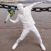 Figura de arte de la calle de Inglaterra, estatua de bancos, escultura de bombardero, juguete artístico coleccionable, adornos creativos de colección de piedra en blanco y negro