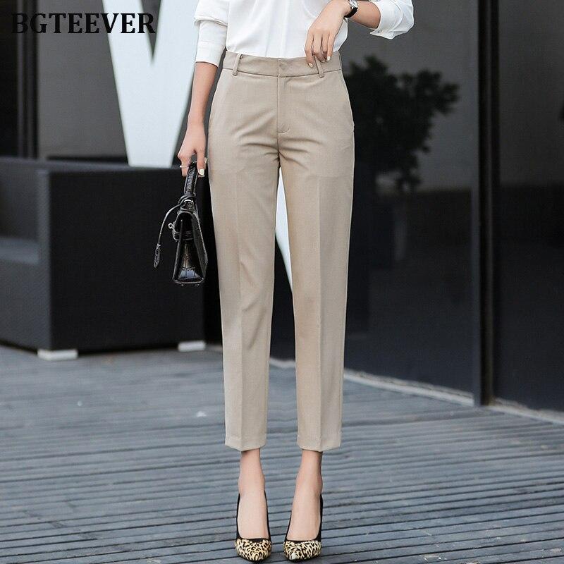 Elegant High Waist Women Pencil Pants 2019 Autumn Women Work Suit Pants Female Trousers Office Ladies Capris Plus Size