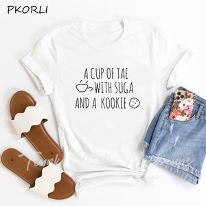 Korean Style Women's T-shirt A Cup of Tae with Suga and Kookie T Shirt Women Summer Cotton Camiseta Male and Female T-shirt