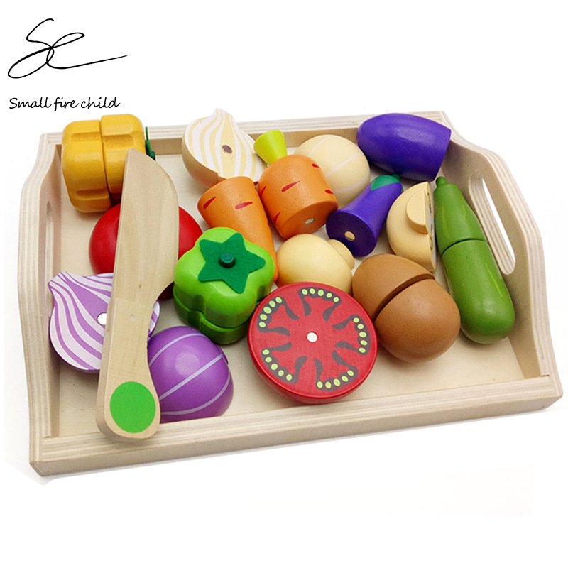 NEW Baby Toys Educational Cutting Set Fruits/ Vegetable/Dessert Wooden Toys Play Food Kitchen Children Play House Birthday Gift