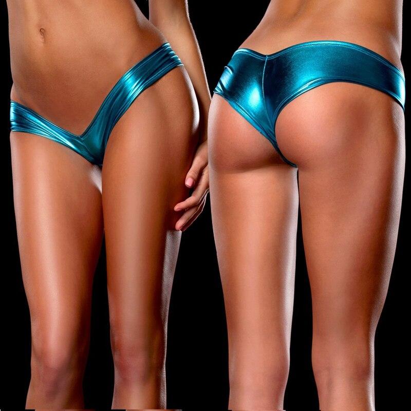 H557aba2a63644cae9193ec2a8579b63bi Women Sexy Panties Underwear Woman Solid Flashing Opaque Patent Leather Imitation Leather Pants Shining Stringi Underwear