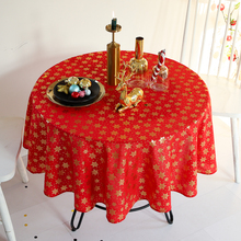 Christmas Gold Snowflake Printed Tablecloth Cotton Linen Red Table Cloth Party Decor Round Dining Cover for Home