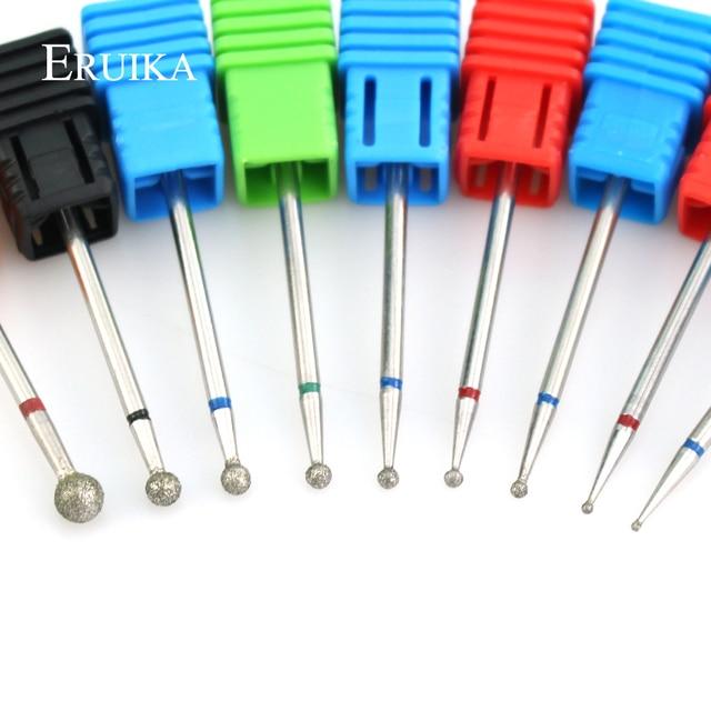 ERUIKA 11 Size Ball Diamond Nail Drill Rotate Milling Cutter Cuticle Clean Electric Bits for Manicure Burr Nail Art Accessories