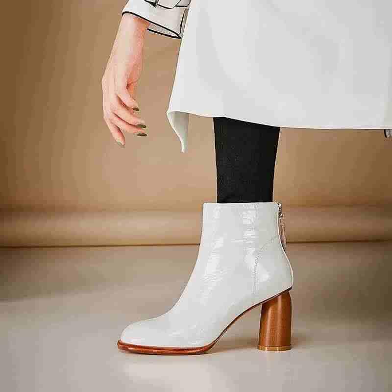 Krazing pot yeni hakiki deri yüksek topuklu fermuar yuvarlak ayak sıcak tutmak artı boyutu film yıldızı ofis bayan el yapımı yarım çizmeler l1f1