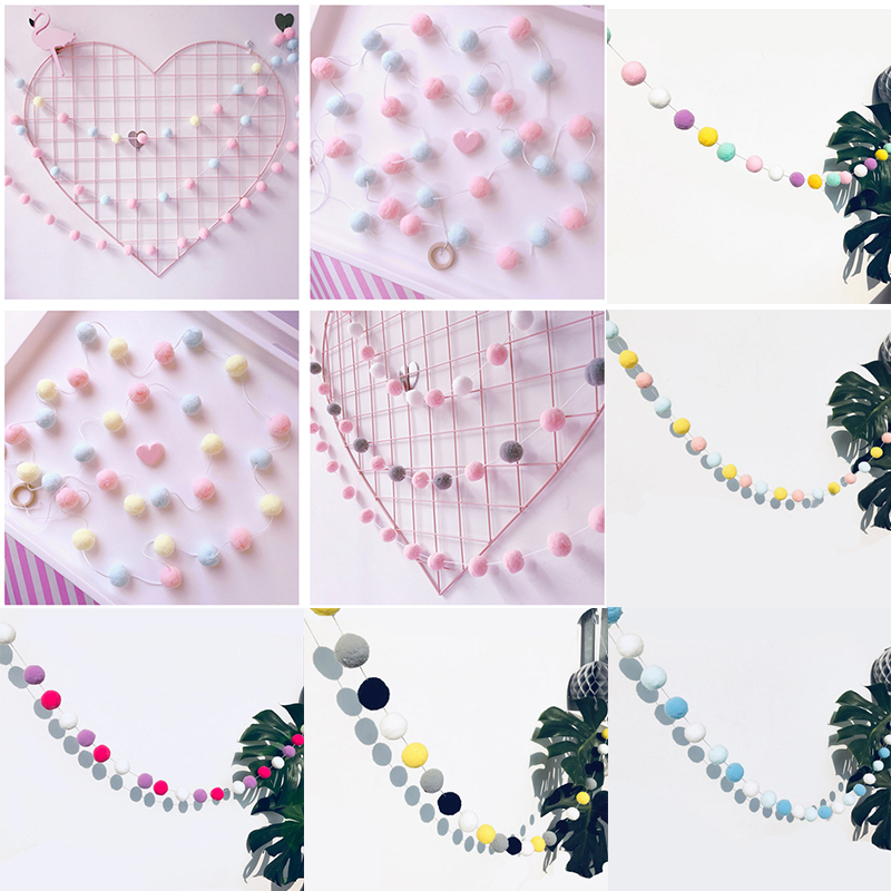 2.5M Baby Room Decoration DIY Macaron Color Hair Ball Decor Banner Decoration Bedding Bumpers Party Flags Kids Girls Room Decor