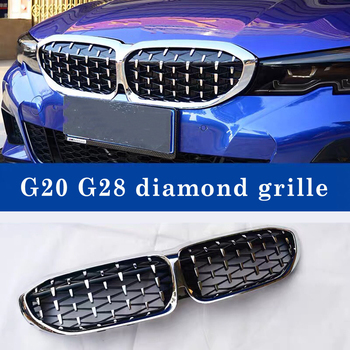 For BMW new 3 Series G20 G28 Diamond Star Grills 325li 2019-in ABS Black Silver Kidney Grille One Pair