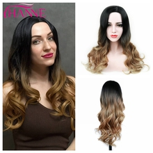 HANNE Natural Wave Wig Ombre Black Brown Hair Synthetic Long Wig for Women Middle Part Heat Resistant Fiber