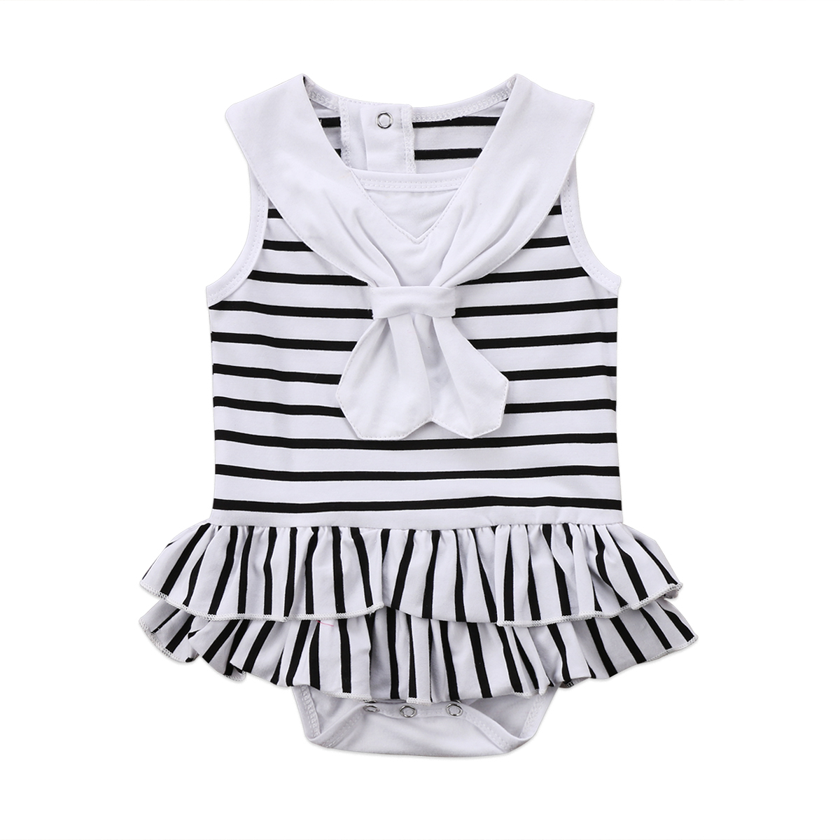 Lovely Newborn Toddler Girls Clothes Easter Rabbit Print Striped Romper Jumpsuit