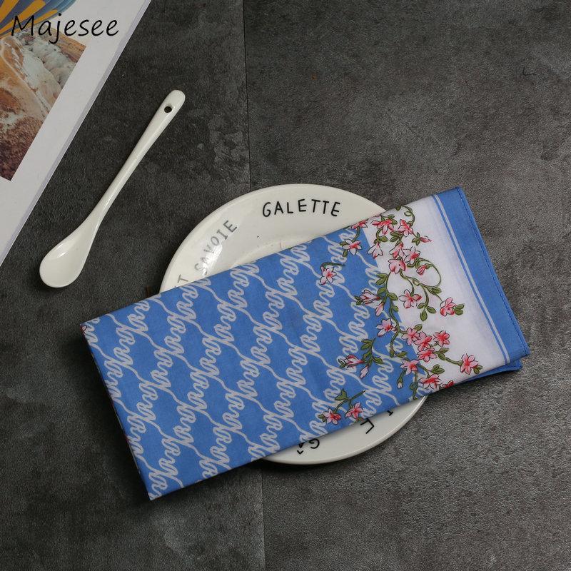 Handkerchiefs Women Kawaii Simple Classic Pocket Square Floral Printed Elegant Vintage Leisure Fashion Womens Chic New Females