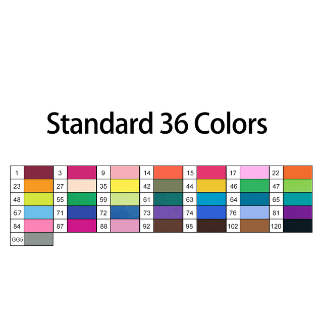36 Standard colors